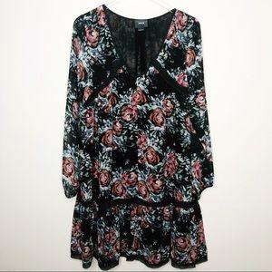 Anthropologie Maeve Black and Floral Dress